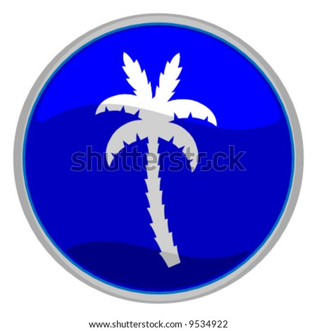 vector illustration of a glossy icon of a palm tree - stock vector
