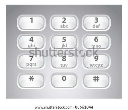 Vector illustration of a glossy white number phone keypad - stock vector