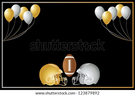 Vector Illustration of a gold and silver football design with helmets. - stock vector