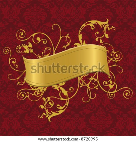 Vector illustration of a gold banner with swirls on a baroque wallpaper - stock vector