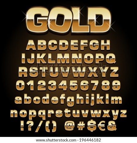 Vector illustration of a gold metal alphabet