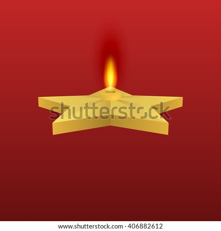 Vector illustration of a gold star with fire. Eternal flame. - stock vector