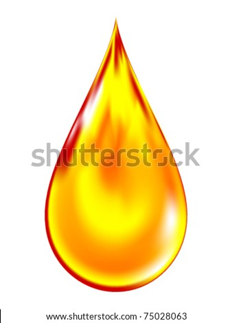 Vector illustration of a golden drop of oil. - stock vector