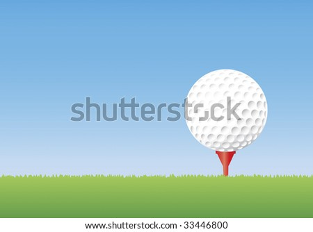 Vector illustration of a golf ball on a tee in short grass. Copyspace available.