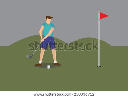 Vector illustration of a golfer holding golf club putting golf ball to a hole in golf course. - stock vector