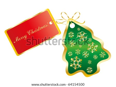 Vector illustration of a green card in the shape of a tree with the text Merry Christmas on a red card - stock vector