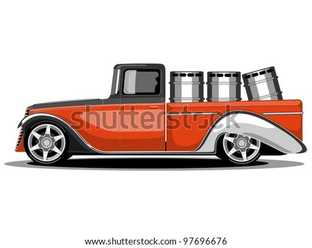 Vector illustration of a Green Transportation Classic Truck or Loader Jeep in Orange color with loaded containers. - stock vector