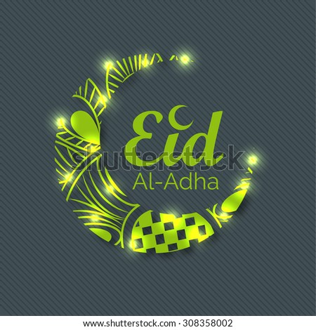 Vector Illustration of a Greeting card template for Muslim Community Festival Eid-Ul-Adha with Moon.