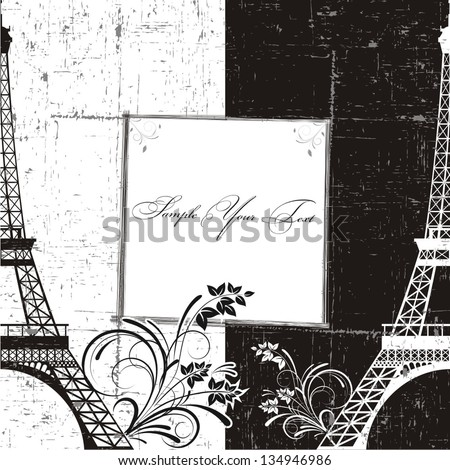Vector illustration of a greeting with  Eiffel tower - stock vector