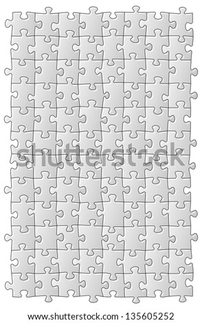 vector illustration of a grey jigsaw puzzle - stock vector
