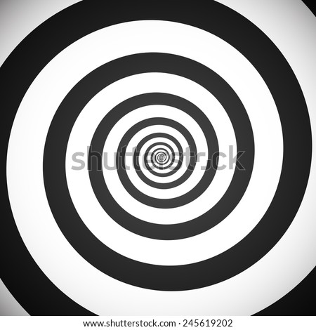 Vector illustration of a greyscale hypnotic spiral background. Eps 10. - stock vector