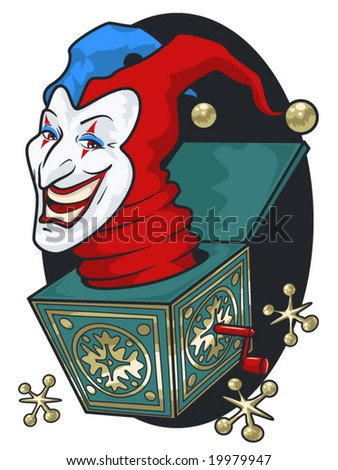 vector illustration of a grinning jack-in-the-box - stock vector