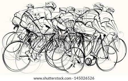 Vector illustration of a group of cyclists in competition - stock vector