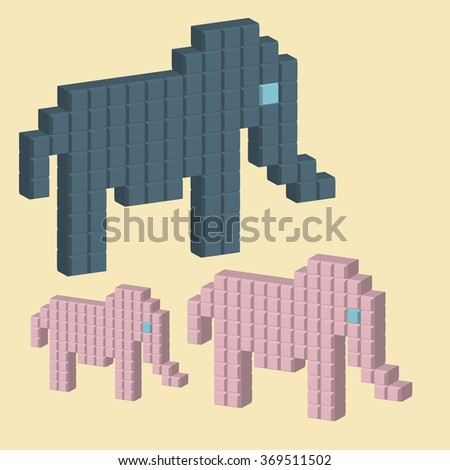 Vector illustration of a group of elephants with a 3D effect.