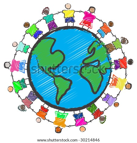 Vector - Illustration of a group of kids with different races holding hands around the globe - stock vector
