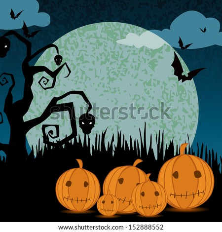 Vector Illustration of a Halloween Background with pumpkin