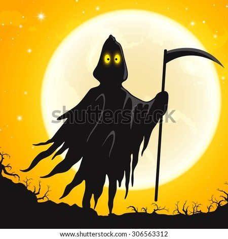 Vector Illustration of a Halloween Design with Grim Reaper - stock vector