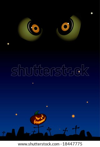 Vector illustration of a halloween nightscape.