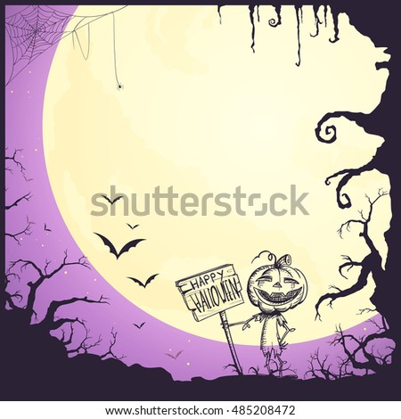 Vector Illustration of a Halloween Poster Background with Scarecrow