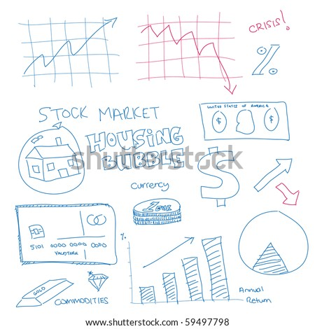 Vector - Illustration of a hand drawn doodle of the financial system in the current economy - stock vector