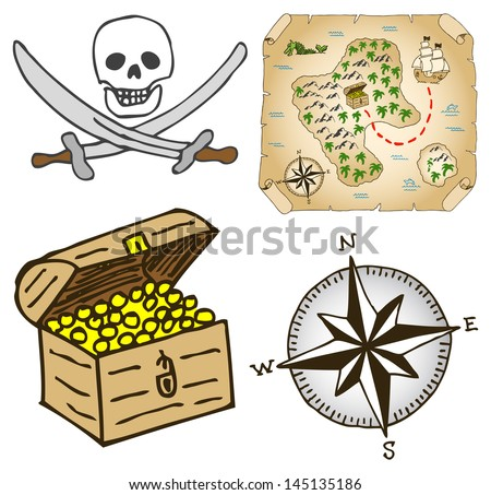 vector illustration of a hand-drawn treasure map