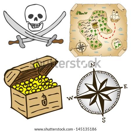 vector illustration of a hand-drawn treasure map - stock vector
