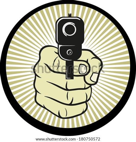 Vector illustration of a hand holding a gun pointing at the viewer - stock vector
