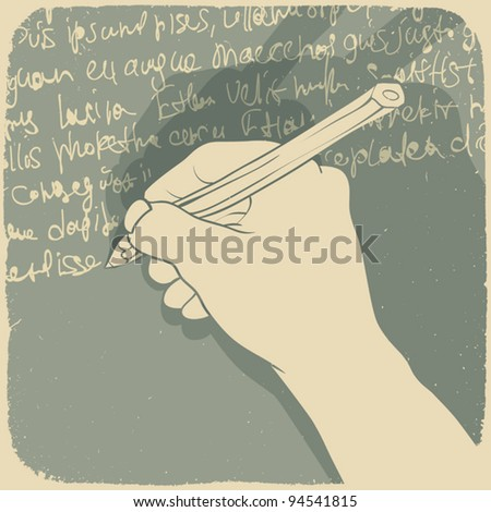 Vector illustration of a hand writing - stock vector