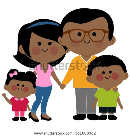 Vector illustration of a happy African family: Two parents and their children, a girl and a boy. - stock vector