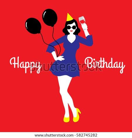 Vector Illustration Happy Birthday Card Young Stock Vector Royalty