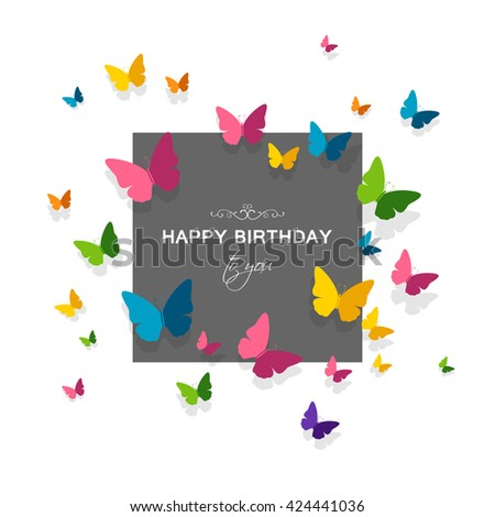 Vector Illustration of a Happy Birthday Greeting Card with Colorful Paper Butterflies - stock vector