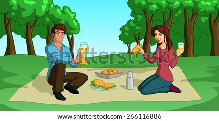 Vector illustration of a happy couple having a lovely picnic. - stock vector