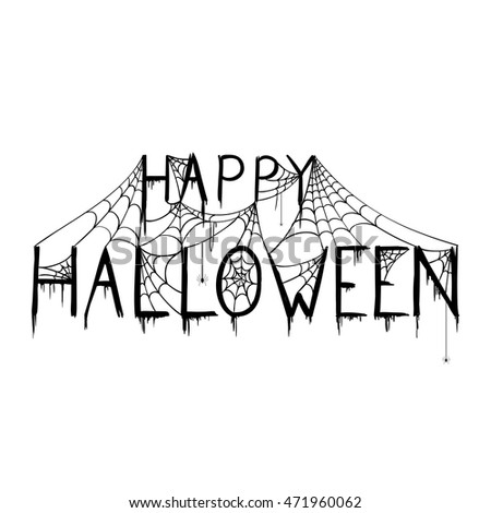 Vector Illustration Of A Happy Halloween Design With Spiderwebs