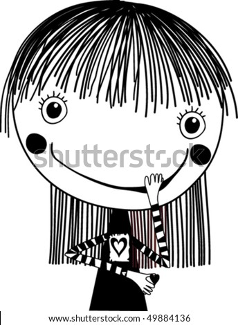 vector illustration of a happy little girl - stock vector