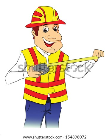 Vector illustration of a happy repairman wearing hardhat and holding tape measure. - stock vector