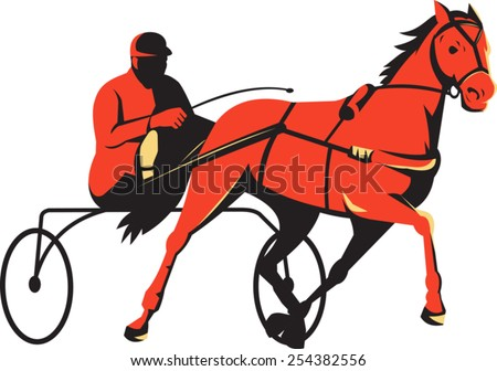 vector illustration of a harness horse cart sulkies racing done in retro style. - stock vector