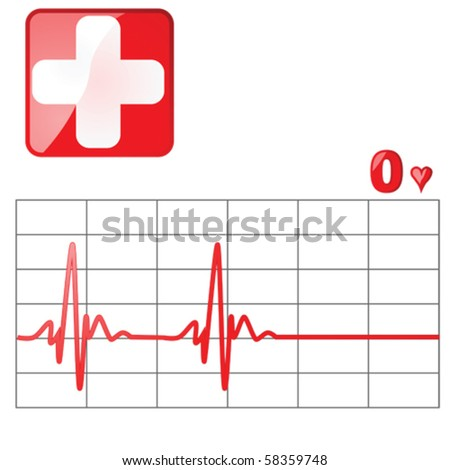 Vector illustration of a heart rate monitor as the heartbeat flatlines - stock vector