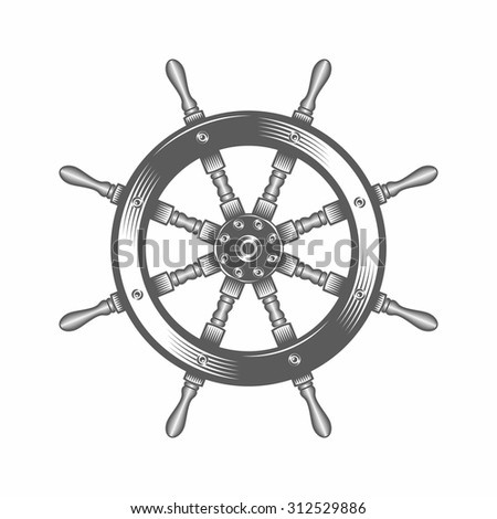 Vector illustration of a helm in the old-fashioned style and line-art style. Can be used as a tattoo  / Helm black and white vector illustration - stock vector