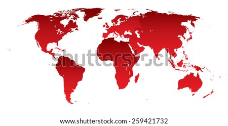 Vector illustration of a High Detail Political Map of the world in red color for each continent. All continents are separated in editable layers. - stock vector