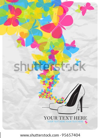 Vector illustration of a high-heeled shoes and butterflies.