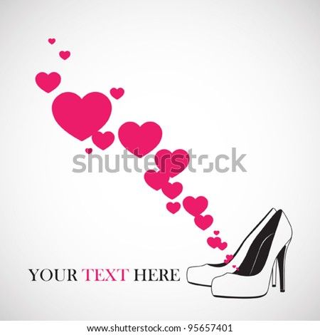 Vector illustration of a high-heeled shoes and hearts. - stock vector