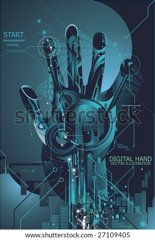 vector illustration of a high tech security concept - stock vector