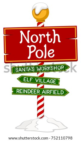 Vector Illustration Of A Holiday Sign For The North Pole