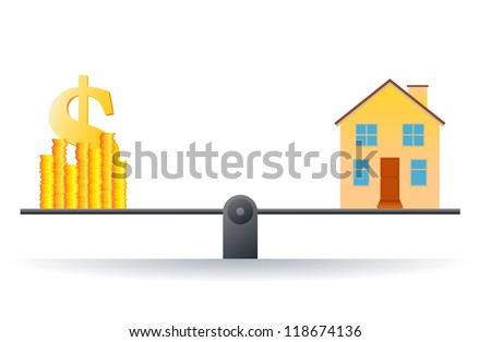 Vector illustration of a house on a scale with heaps of gold dollar coins. - stock vector