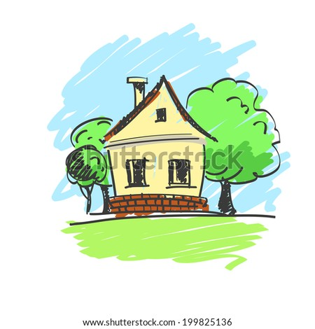 vector illustration of a house with a landscape isolated - stock vector