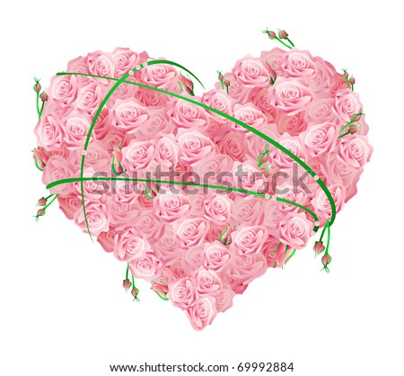 Vector illustration of a huge heart made of roses - stock vector