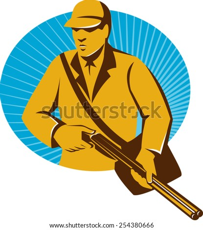 vector illustration of a hunter hunting with shotgun rifle oval done in retro style.