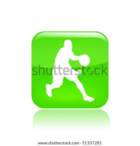 Vector illustration of a icon isolated in a modern style with a reflection effect depicting a basketball player in action