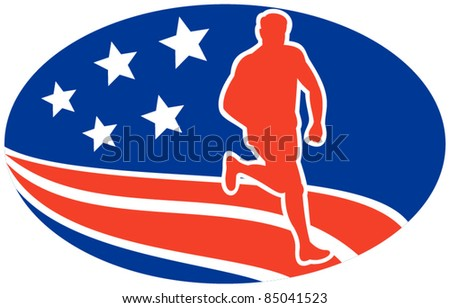 vector illustration of a illustration of a Marathon road runner jogger fitness training road running with American stars and stripes in background inside oval - stock vector