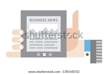 Vector illustration of a internet tablet with business news information and growth diagram on the display in the businessman hand - stock vector